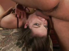 Horny babe puts her boyfriend's hard cock into his mouth