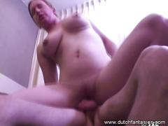 Busty amateur dutch chick gets fucked doggy style