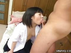 Cute asian schoolgirl yuki asaka toys pussy before sucking and fucking