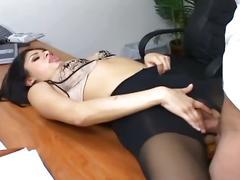 Brunette office slut blows and gets nailed on desk