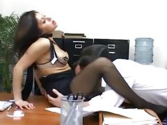 Brunette office slut blows and gets nailed on desk