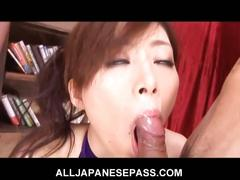 Horny japanese girl keito miyazawa toys pussy and sucks two cocks