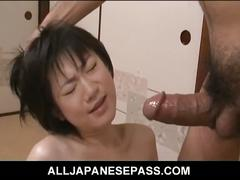 Japanese babe aoba itou eats her creampie