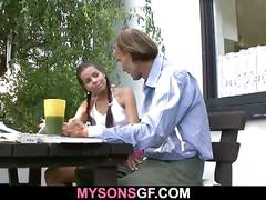 Young babe cheats with his bf's dad