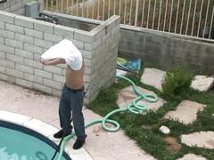 Blonde blows and fucks her pool guy outside