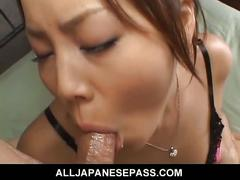 Japanese babe haruka aizawa sucks cock and swallows cum