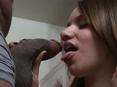 Big breasted brunette chick fucks big black cock