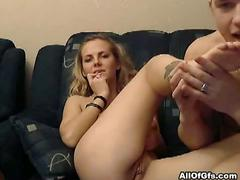 Amateur blond girlfriend gets hardcore fucking