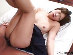Japanese schoolgirl shinobu kasagi gets her tight pussy fucked hard