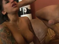 alt porn, big tits, blowjob, brunette, veronica jett, big boobs, black hair, busty, deepthroat, sloppy blowjob, tattoos