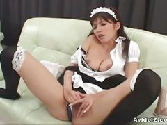 Horny asian maid riko tachibana fingers and toys with her tight pussy