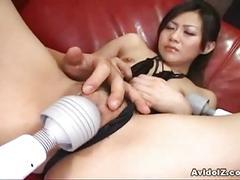 asian, masturbation, pussy, solo, hina aizawa, black hair, dildo, japanese, masturbating, oriental, shaved pussy, swollen pussy, tight pussy, vibrator