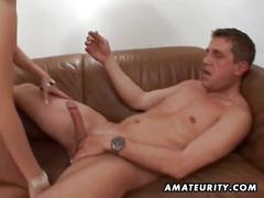 Hot blonde ameteur fucks her boyfriend till he comes