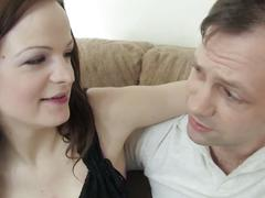 Brunette blows him and gets drilled hard