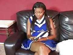 Ebony cheerleader riding thick black cock