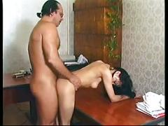 Hot sexy brunette milf loves to get fucked all over the office in heels