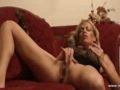 amateur, big tits, blonde, masturbation, milf, pussy, gorgeous beautiful busty big tits huge boobs red couch clit masturbate play masturbation pussy shaved orgasm