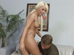 Horny dude pounds sexy blonde jacky joy in shaved pussy