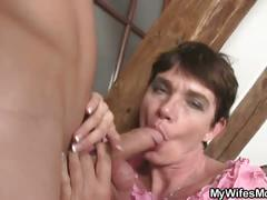 Horny brunette mother in law wants his cock