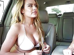 Busty blonde pays her ride