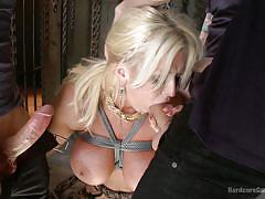Busty blonde had a rough treatment