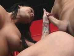 Face fucked horny brunette slut