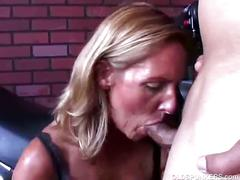 Curvy blonde momma in stockings opens wide for hardcore drilling