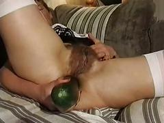 Mature hairy solo anal