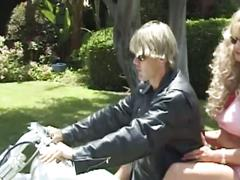 Blonde trailer trash fucks horny biker