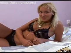 Amateur blonde casting striptease clip