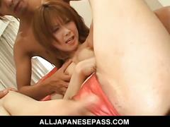 Japanese beauty getting spread pussy fucked.