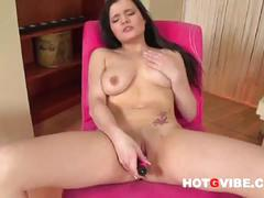 Fiery busty brunette nicole naked as she plays tasty shaved cunt