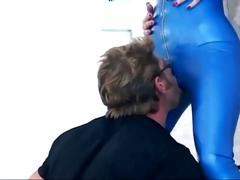 Brunette gives drooling blowjob in boots and latex