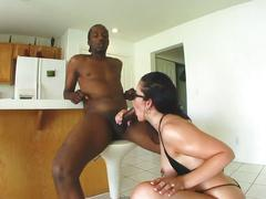 Amazing dick loving brunette whore welcomes monster black cock