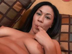 Luscious brunette babe fucked on the couch