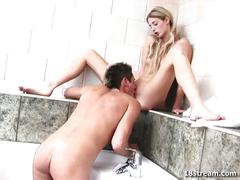 Nasty young couple fucking in the bathroom