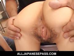 Cute japanese schoolgirl getting hairy pussy gang fucked hardcore