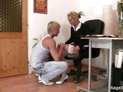Luscious blonde slutty secretary bends hard for some hot whacking