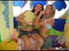 Horny young sluts play with veggies