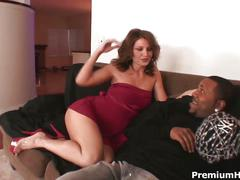Brunette milf loves big black cock drilling her wet pussy