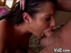 Filthy brunette bitch swallows man milk
