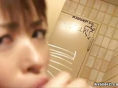 Horny japanese bitch sucks asian cock in the bathroom