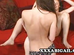 Three gorgeous brunette lesbians licking wet pussies