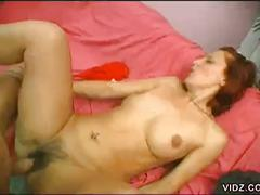 Redheaded amateur with hairy pussy fucked hard