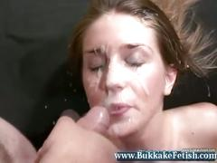 Blonde gets all holes filled with messy bukkake