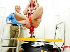 Nurse brutally assfucked, then dropped onto giant dildo