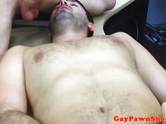 Desperate straight guy double facialized