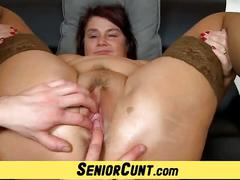 Old vagina spreading and dildo-fucking with fat older woman eva