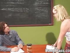 Slutty blonde teen schoolgirl stuffed by teacher