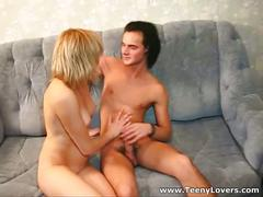 Young teen couple fucking on the couch